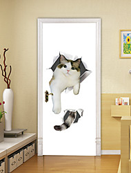 "cheap -2pcs Self-adhesive Creative Cat Door Stickers For Living Room Diy Decorative Home Waterproof Wall Stickers 30.3""x78.7""(77x200cm), 2 PCS Set"