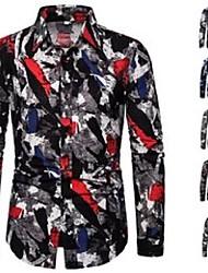 cheap -men's casual shirts 2021 retro floral printed man slim shirt fashion classic men dress long sleeve brand clothing