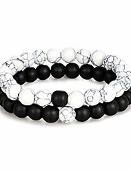 cheap -edary distance bracelet black matte agate & white howlite energy natural stone beads bracelet set friends relationship couples jewelry women men