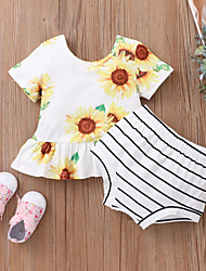cheap -Baby Girls' Basic Print Short Sleeve Short Clothing Set White