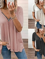 cheap -Women's T shirt Plain Short Sleeve V Neck Basic Casual Daily Tops Blushing Pink Gray White / Wash with similar colours / Micro-elastic