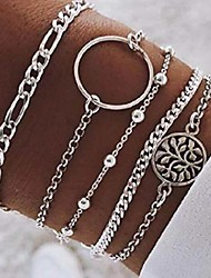 cheap -sakytal layered bracelet set silver vintage flower hand chain beaded stackable bracelet wrap charm circle pendent stack bracelet for women and girls(5pcs)