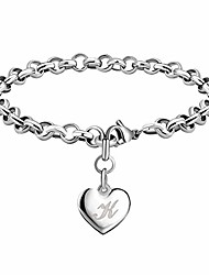 cheap -memgift heart initial k charm bracelets for women teen girls silver stainless steel simple jewelry engraved letter personalized name gifts for her mom birthday mother's day