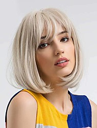 cheap -Straight Wig Short Bob Wigs With Air Bangs Shoulder Length Women's Wig Straight Synthetic Cosplay Wig Pastel Bob Wig for Girl Costume Wigs Mixed Blonde Color 10 Inch