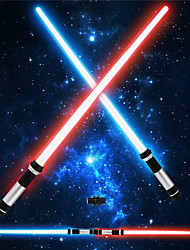 cheap -Light Up Saber  2 Pack Telescopic Extendable and Collapsable Laser Sword  2-in-1 LED  Sound FX Light Up Sword for Kids Costumes  Connects at Base to Become Double Bladed Saber Staff