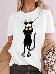 cheap -Women's Cat 3D Cat T shirt Cat Animal Print Round Neck Basic Tops 100% Cotton White Black Khaki
