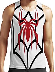 cheap -Men's Unisex Tank Top Undershirt Shirt 3D Print Graphic Prints Spider Animal Plus Size Print Sleeveless Casual Tops Basic Fashion Designer Breathable Round Neck White / Sports / Summer