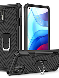 cheap -Armor Phone Case For Motorola Moto E7 MOTO G9 PLAY Moto G8 Power Lite MOTO G9 Plus Shockproof Dustproof Solid Colored TPU Back Cover with Kickstand Ring Holder