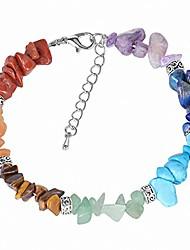 cheap -7 chakra reiki women bracelets chain link lobster clasp healing balance natural chip stone beads meditation rainbow