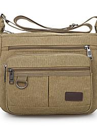 cheap -Unisex Bags Canvas Crossbody Bag Zipper Solid Colored Office & Career Canvas Bag Dark Brown Black Army Green Khaki