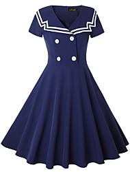 cheap -Audrey Hepburn Vintage Prom Dresses Dress Women's Buckle Spandex Costume Navy Blue Vintage Cosplay Homecoming Date Short Sleeve Midi A-Line