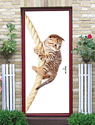 """cheap -2pcs Self-adhesive Creative Rope Cat Door Stickers For Living Room Diy Decorative Home Waterproof Wall Stickers 30.3""""x78.7""""(77x200cm), 2 PCS Set"""