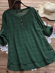 cheap -Women's Plus Size Tops Blouse Shirt Plain Button Long Sleeve Round Neck Spring Summer Wine Red Green Big Size L XL XXL 3XL 4XL
