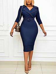 cheap -Women's Plus Size Dress Sheath Dress Knee Length Dress 3/4 Length Sleeve Plain Summer L XL 2XL 3XL