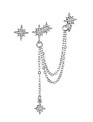 cheap -asymmetric moon star cz ear cuff wrap clip on 925 sterling silver stud long chain climbers crawler tassel dangle drop cartilage hoop earrings for women girls fashion hypoallergenic gifts bff