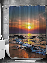 cheap -Shower Curtain With Hooks Suitable For Separate Wet And Dry Zone Divide Bathroom Shower Curtain Waterproof Oil-proof Modern and Beach Theme and Landscape