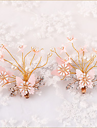 cheap -Kids' Baby Girls' 2 Pieces Version Of Rhinestone Hairpin Pink Pearl Butterfly Hairpin Girl Leaf Metal Side Clip Girl Head Flower Children Hair Accessories