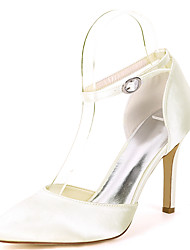 cheap -Women's Wedding Shoes Stiletto Heel Pointed Toe Satin Solid Colored White Purple Red