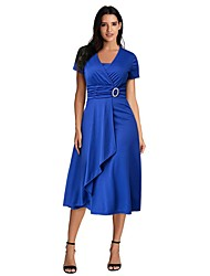 cheap -A-Line Empire Plus Size Party Wear Cocktail Party Dress V Neck Short Sleeve Ankle Length Spandex with Sleek 2021