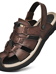 cheap -Men's Sandals Crochet Leather Shoes Flat Sandals Casual Beach Daily Outdoor Nappa Leather Cowhide Breathable Handmade Non-slipping Booties / Ankle Boots Khaki Black Brown Spring Summer