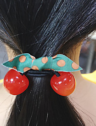 cheap -Kids Baby Girls' Big Cherry Hair Ring Hair Rope Ins Net Red Rubber Band Leather Head Rope Ponytail Hair Ornament Headdress
