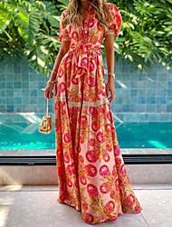 cheap -Women's A Line Dress Maxi long Dress Red Short Sleeve Pattern Summer Casual 2021 S M L XL XXL