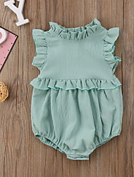 cheap -Baby Girls' Basic Solid Colored Ruffle Sleeveless Romper Blushing Pink Green Brown