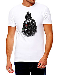 cheap -Men's Unisex Tee T shirt Hot Stamping Graphic Prints Soldier Plus Size Print Short Sleeve Casual Tops Cotton Basic Fashion Designer Big and Tall White