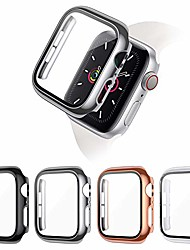 cheap -Smart watch Case 4-pack screen protector compatible with apple watch se/ series 6/5/4 40mm, full coverage pc protective cover case with tempered glass screen protector compatible with iwatch series