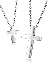 cheap -rockyu cross necklace set for couples pair stainless steel classic cross pendant simple couples necklace chain 16 18 inch gift for valentine's day anniversary