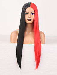cheap -halloweencostumes Synthetic Wig Natural Straight Middle Part Wig 24 inch Black / Red Synthetic Hair Women's New Arrival Middle Part Mixed Color