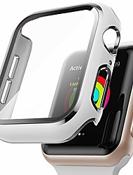 cheap -Smart watch Case  compatible with apple watch series 3/2/1 42mm with built-in tempered glass screen protector,silver edge white bumper full coverage hd clear protective film cover for women men
