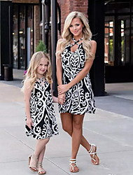 cheap -Dress Mommy and Me Color Block Leopard Print Black Sleeveless Above Knee Basic Matching Outfits / Summer