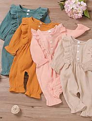 cheap -Baby Girls' Basic Solid Colored Print Short Sleeves Romper Blushing Pink Orange Green