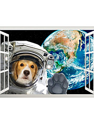 cheap -3D False Window Moon Dog Astronaut Home Children's Room Background Decoration Can Be Removed Stickers