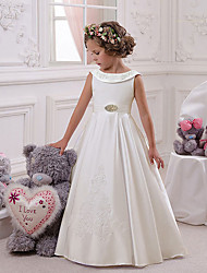 cheap -Princess Floor Length Christmas / Birthday / First Communion Flower Girl Dresses - Mikado / Cotton Sleeveless Boat Neck with Appliques / Crystals / Rhinestones