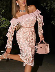cheap -Women's Bodycon Knee Length Dress Blushing Pink Long Sleeve Color Block Fall Spring Off Shoulder Hot 2021 S M L XL