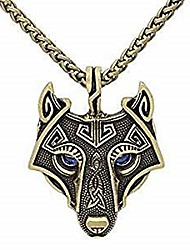 cheap -unique antique gold viking wolf pendant head necklace with dazzling sapphire blue eyes -- chain leather
