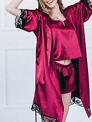cheap -Women's Normal Chemises & Gowns Pajamas Sets Lace Color Block Polyester Strap Top Shorts / Sexy