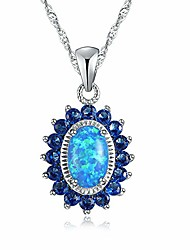 cheap -cinily 14k white gold plated opal pendant necklace-flower/oval shap necklace gemstone women girls jewelry gift blue
