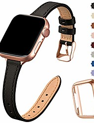 cheap -compatible with apple watch strap 38mm 40mm 42mm 44mm, real replacement leather strap, slim and lightweight strap for the iwatch series 6/5/4/3/2/1, se (38mm 40mm, black & rose gold)