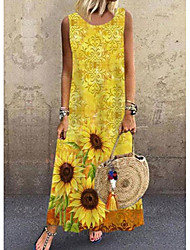 cheap -Women's Shift Dress Maxi long Dress Sleeveless Pattern Spring Summer Casual / Daily 2021 S M L XL XXL XXXL 4XL 5XL