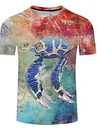 cheap -Men's Unisex Tee T shirt 3D Print Graphic Prints Underwater World Animal Plus Size 3D Print Print Short Sleeve Casual Tops Basic Designer Big and Tall White Black Rainbow