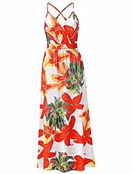 cheap -owacee women's summer deep v-neck casual dress floral print long maxi dress adjustable spaghetti straps sexy backless sundress beach vacation party