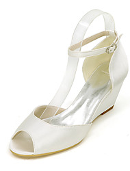cheap -Women's Wedding Shoes Wedge Heel Peep Toe Satin Solid Colored White Purple Red