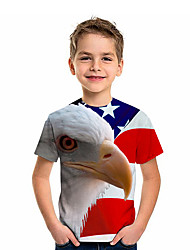 cheap -Kids Boys' T shirt Short Sleeve Owl American flag 3D Print Graphic Red and White Navy Blue Rainbow Children Tops Summer Active Daily Wear Regular Fit 4-12 Years