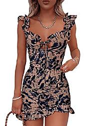 cheap -misomee women fashion floral ruffle trim mini dress m brown