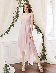 cheap -A-Line V Neck Ankle Length Chiffon Bridesmaid Dress with Pleats