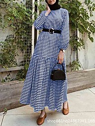 cheap -new cross-border aliexpress black non-refundable long skirt gather wealth temperament commuter hedging mid-waist plaid bow