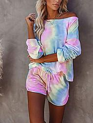 cheap -Women's Basic Tie Dye Vacation Casual / Daily Two Piece Set Tracksuit T shirt Loungewear Biker Shorts Drawstring Tops